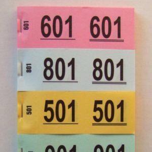 Garderobennummern für Jackenabgabe