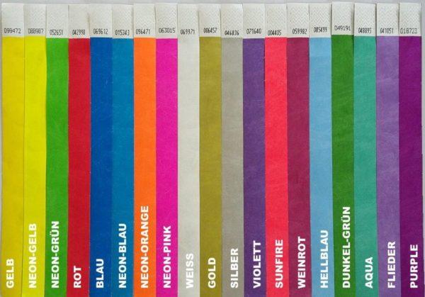 Farbübersicht Eintrittsbänder Tyvek
