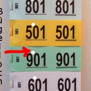 Doppelnummern mit Bügel-Loch (gelocht)