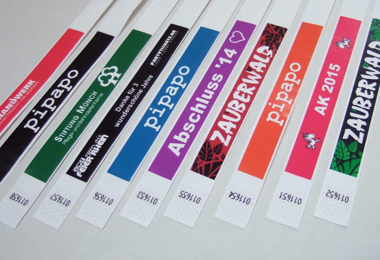 Tyvek-Bänder Einlassbänder Kontrollbänder zum Bedrucken Eintrittsbänder